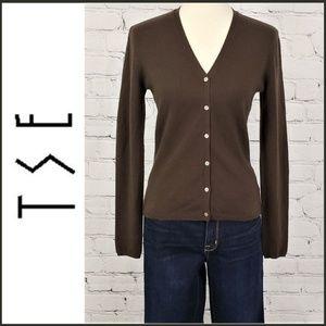 TSE CASHMERE Brown Long Sleeve Cardigan S